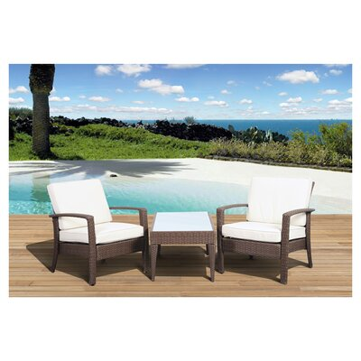<strong>International Home Miami</strong> Atlantic Java 3 Piece Seating Group with Cushion