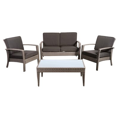 International Home Miami Atlantic Java 4 Piece Lounge Seating Group with Cushion