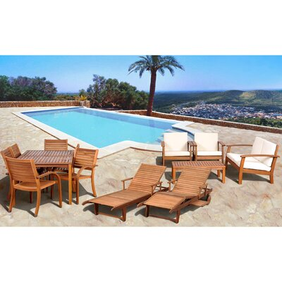 <strong>International Home Miami</strong> Amazonia 13 Piece Eucalyptus Lounge Seating Group with Cushions