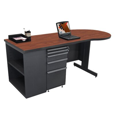 "Marvel Office Furniture Teachers 75"" Conference Desk with Bookcase"