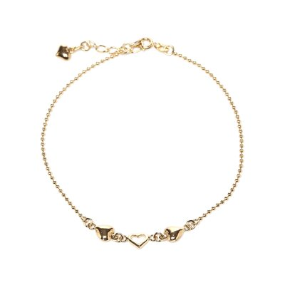 14k Gold over Silver 9 inches Heart Anklet