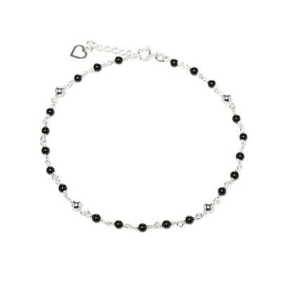 Sterling Silver Black Onyx 9 inches Anklet