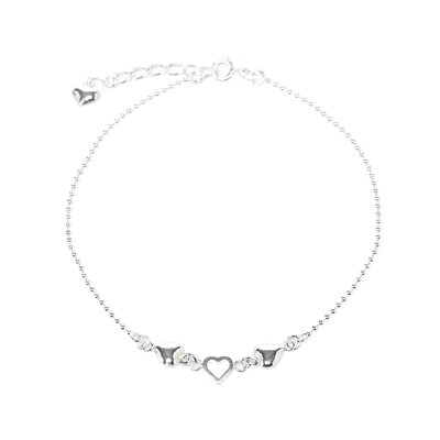 Sterling Silver 10 inches Hearts Anklet