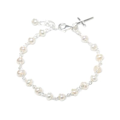 <strong>Sterling Essentials</strong> Sterling Silver Cultured Pearl Children's Cross Bracelet