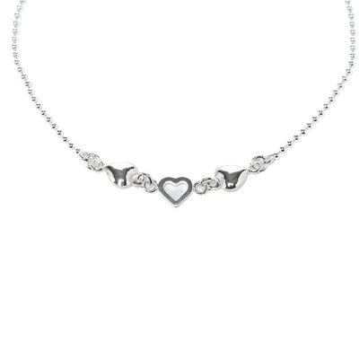 Sterling Essentials Sterling Silver 10 inches Hearts Anklet
