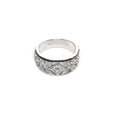<strong>Sterling Essentials</strong> Sterling Silver Antique Design Cubic Zirconia Ring