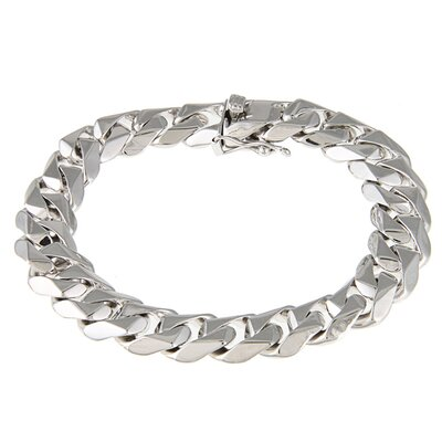 Platifina Platinum Plated Sterling Silver Men's 8 inches Beveled Curb Link Bracelet