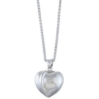 Sterling Essentials Platifina Platinum Plated Sterling Silver Ridged Heart Necklace