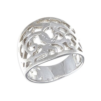 Platifina Platinum Plated Sterling Silver Filigree Ring