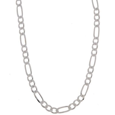 Sterling Essentials Sterling Silver 4mm Diamond-Cut Figaro Chain