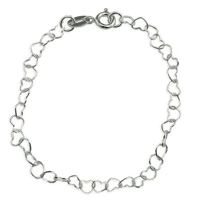 Sterling Silver 10 inches Heart Link Anklet