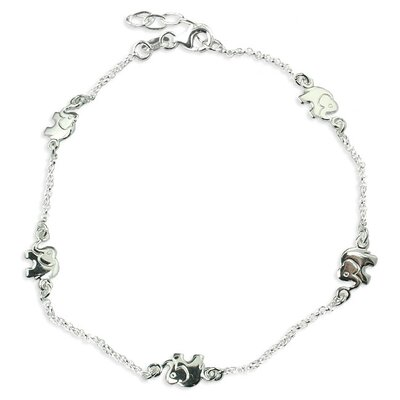 Sterling Silver 10 inches Lucky Elephants Anklet