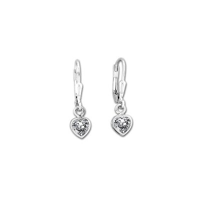 Sterling Essentials Sterling Silver 6.5mm Cubic Zirconia Heart Drop Earrings