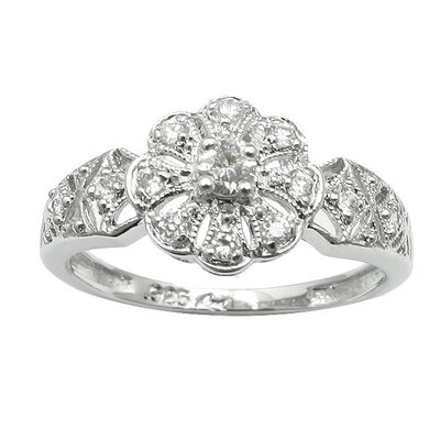 Sterling 12 Prong Silver Cubic Zirconia Flower Ring