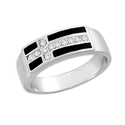Sterling Essentials Sterling Silver Cubic Zirconia and Black Onyx Cross Ring