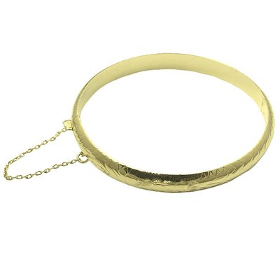 14k Gold over Silver 7 inches Engraved Bangle Bracelet
