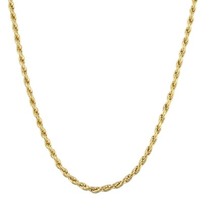 14k Gold over Silver Diamond-Cut Rope Chain (1.5 mm)