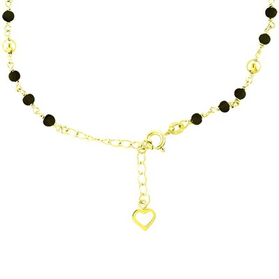 14K Gold over Silver 9 inches plus 1 Black Onyx Anklet