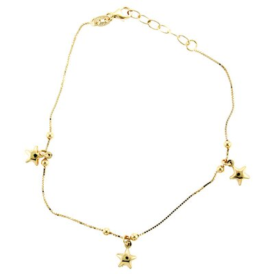 Sterling Essentials 14k Gold over Silver Stars Anklet