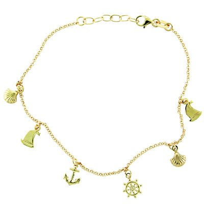 14k Gold over Silver Nautical Anklet