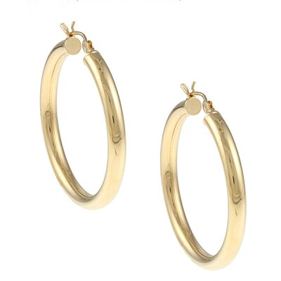 14k Gold over Silver 4 mm x 40 mm Diameter Polished Hoop Earring