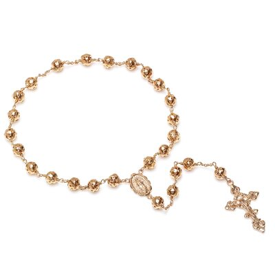 Sterling Essentials Gold Plated Bronze Cut-Out Beaded Pocket Rosary