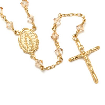 Sterling Essentials Gold Plated Silver Rosary Necklace with Swarovski Elements