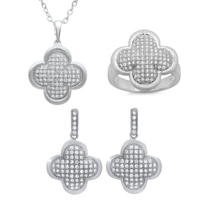 Sterling Silver Pave Cubic Zirconia Clover Necklace, Earring and Ring Set