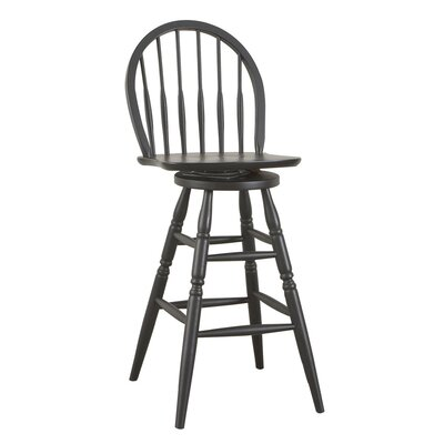 "Carolina Cottage 30"" Antique Black Swivel Windsor Barstool"