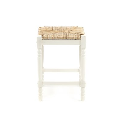 "Carolina Cottage 24"" Hawthorne Counter Stool with Rush Seat in Antique White"