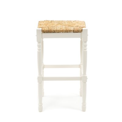"Carolina Cottage 30"" Hawthorne Counter Stool with Rush Seat in Antique White"