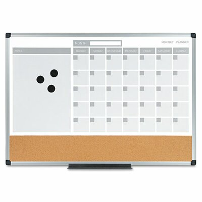 """Mastervision 3-In-1 Planner 1'6"""" x 2' Bulletin Board"""