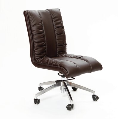 Comphy Mid-Back Leather Office Chair with Swivel