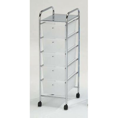 Hodedah 5 Drawer Storage Cart