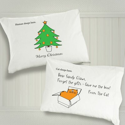 "Dog SnorZ ""Merry Christmas"" / ""Dear Sandy Claws"" Cotton Pillowcases (Set of 2)"