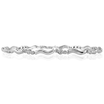 Szul Jewelry Round Cut Diamond Three Stone Link Bracelet