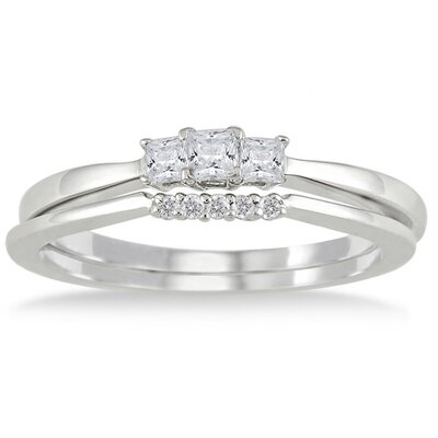 Szul Jewelry 10K White Gold Princess Cut Diamond Bridal Ring Set