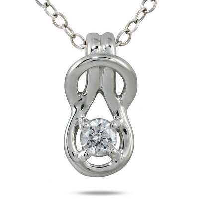 10K White Gold Round Cut Diamond Love Knot Pendant