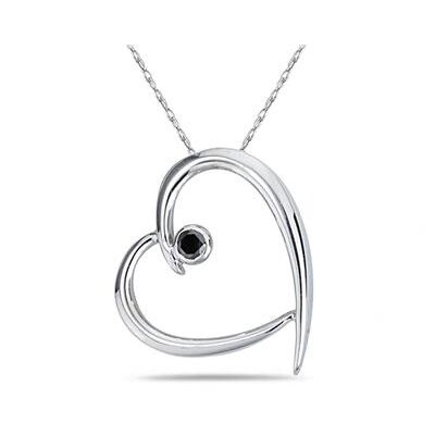 Szul Jewelry 10K White Gold Round Cut Diamond Slide Heart Pendant