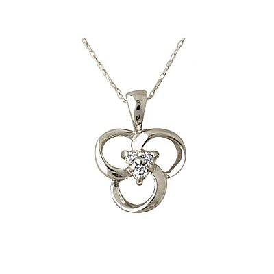 Szul Jewelry 10K White Gold Round Cut Diamond Flower Twist Pendant
