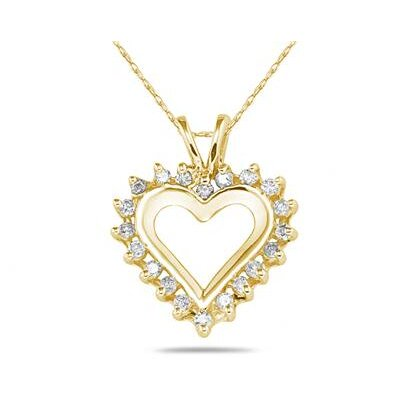 10K Yellow Gold Round Cut Diamond Heart Pendant