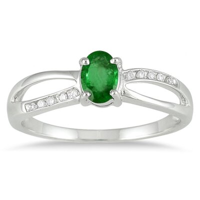 10K White Gold Oval Cut Gemstone Ring