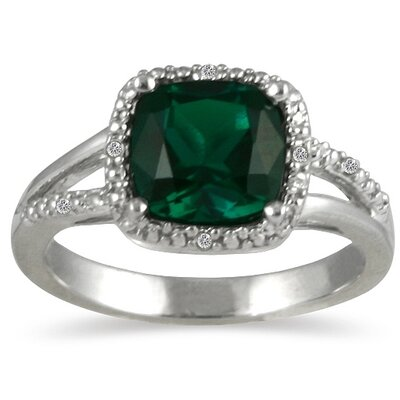 Sterling Silver Cushion Cut Emerald Ring