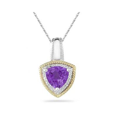 Szul Jewelry 14K Yellow Gold and Silver Trillion Cut Gemstone Pendant