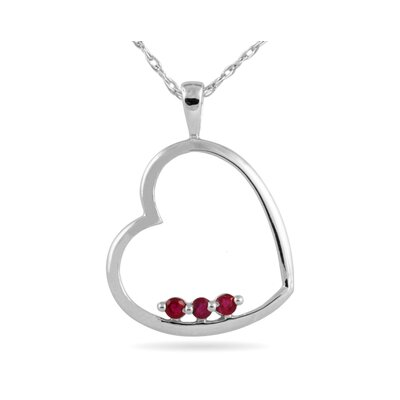 10K White Gold Round Cut Ruby Heart Pendant