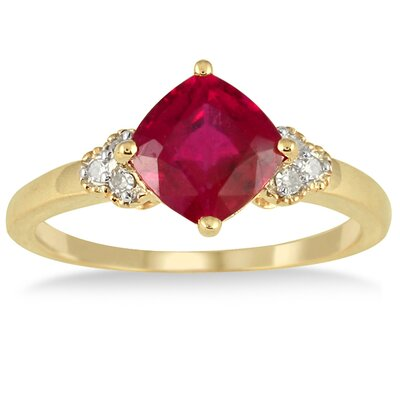 10K Yellow Gold Cushion Cut Ruby Ring