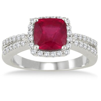 10K White Gold Cushion Cut Ruby Ring