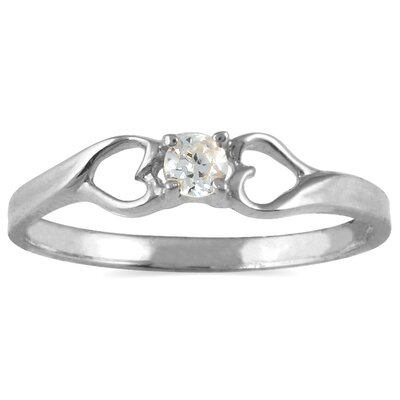 10K White Gold Round Cut Diamond Heart Promise Ring
