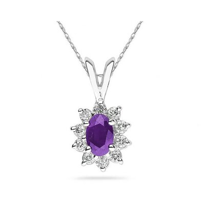 14K White Gold Oval Cut Gemstone Flower Pendant