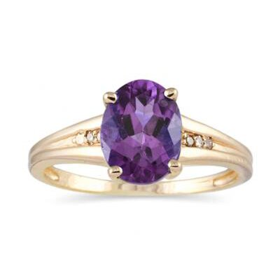 10K Yellow Gold Oval Cut Gemstone Ring